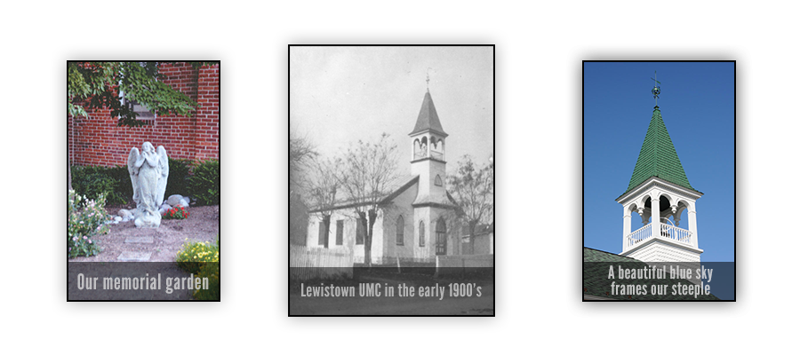 views of Lewistown United Methodist Church from 1900's, the garden and steeple